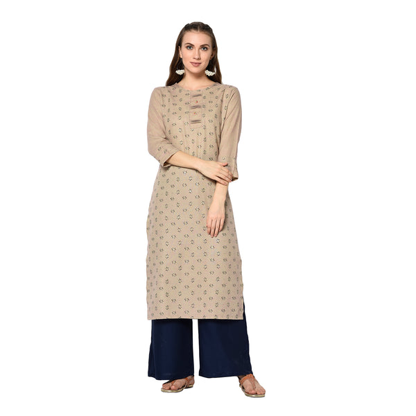 Beige Cotton Printed Straight Cut Kurti