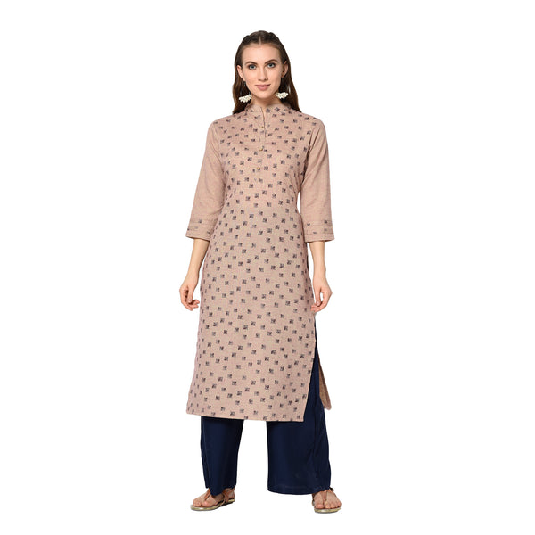 Cream Cotton Printed Straight Cut Kurti