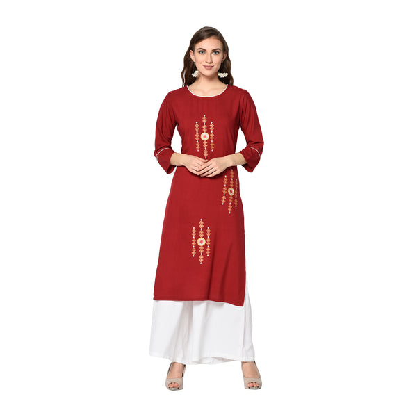 Maroon Rayon Embroidered Straight Cut Kurti