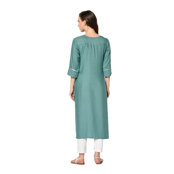 Teal Rayon Embroidered Straight Cut Kurti
