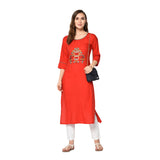 Red Rayon Embroidered Straight Cut Kurti