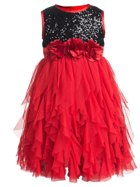 Red and Black Frock (4-6Yrs) - PurpleTulsi.com  - 1