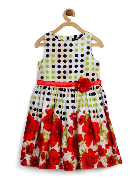 Multicolour Kids Frock (4-6Yrs) - PurpleTulsi.com  - 1