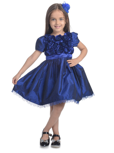 Navy Blue Kids Frock (4-6Yrs) - PurpleTulsi.com  - 1