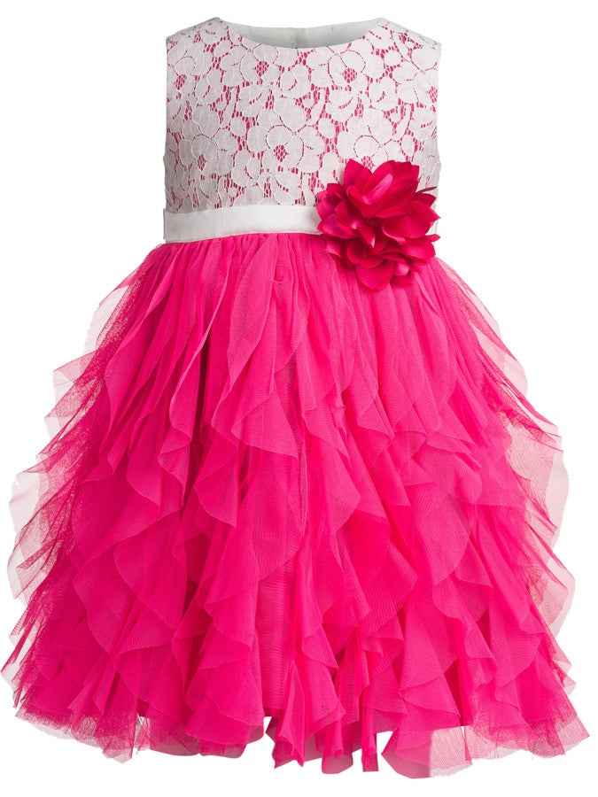 White and Pink Kids Dress (4-6Yrs) - PurpleTulsi.com  - 1