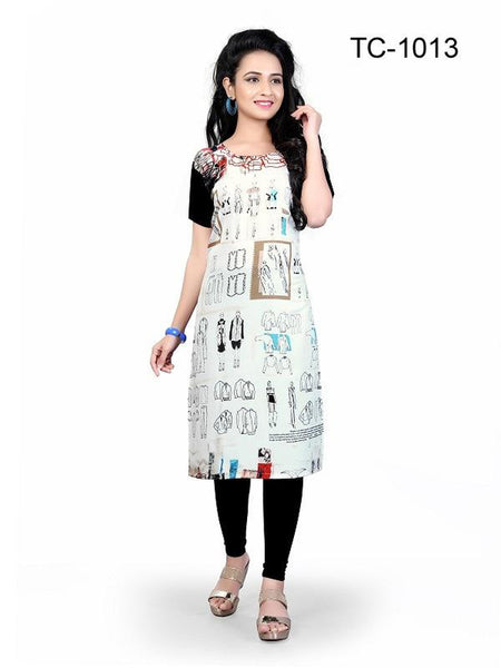 Beautiful Multi Color Digital Printed Crepe Straight Cut Kurti