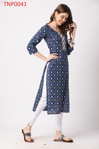 Blue Cotton Printed Kurti with Pant