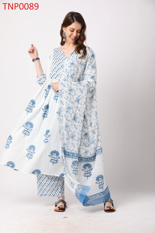 White Cotton Printed Anarkali Suit