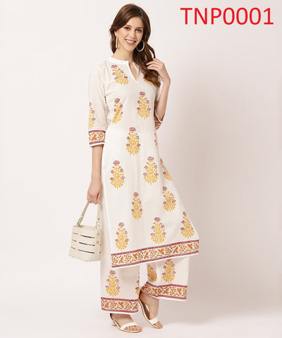 Off White Cotton Printed Kurti with Palazzo