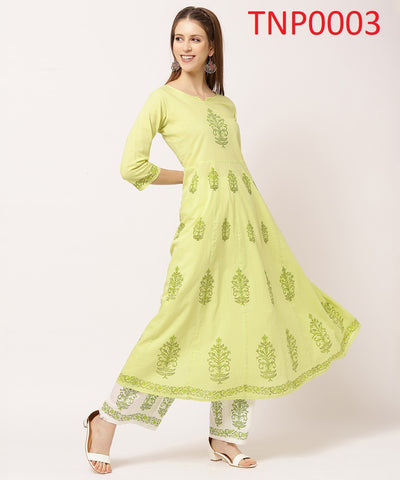 Light Yellow Cotton Printed Kurti with Palazzo