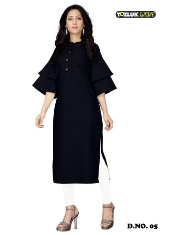 Beautiful Black color Straight Cut Kurti