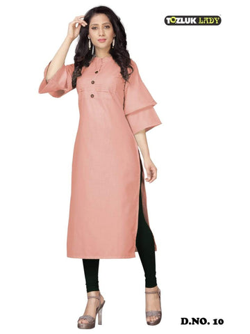 Beautiful Beige color Straight Cut Kurti