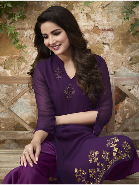 Designer and Beautiful Violet Color Straight Cut Kurti with Palazzo