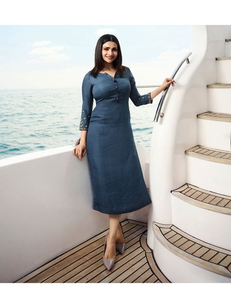 Designer Dusty Blue Color Straight cut Kurti