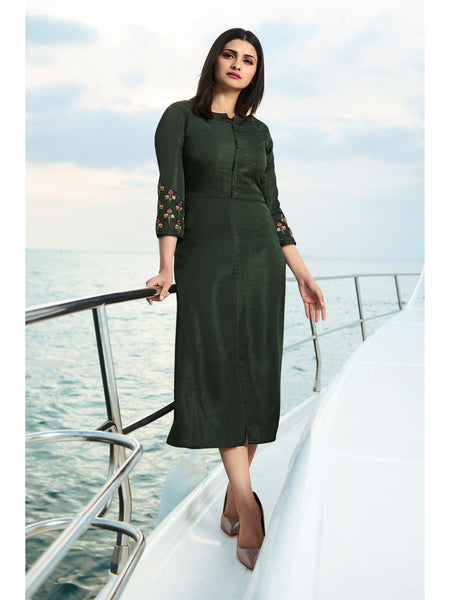 Designer Dark Olive Green Color Straight cut Kurti