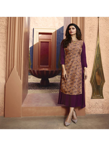 Designer and Beautiful Wine & Beige Color Straight Cut Kurti