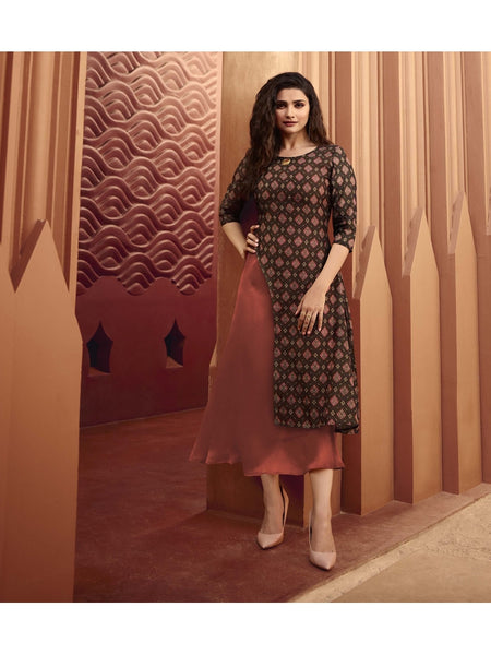 Designer and Beautiful Coffee & Rust Color Straight Cut Kurti