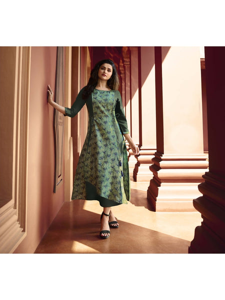 Designer and Beautiful Light Green & Green Color Straight Cut Kurti