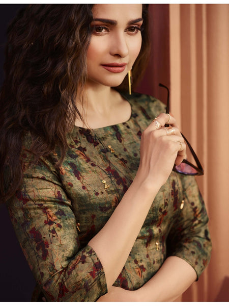 Designer and Beautiful Wine & Olive Color Straight Cut Kurti