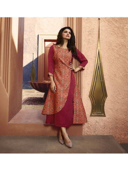 Designer and Beautiful Pink & Rani Straight Cut Kurti