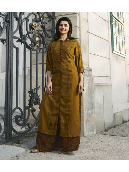 Designer Mustard Color Printed Kurti with Bottom