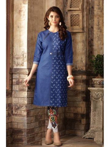 (Size XL) of Beautiful designer Blue Color Denim Kurti