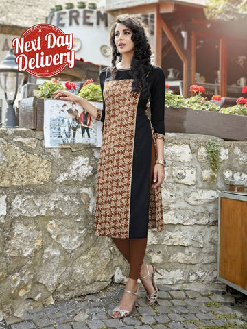 M Size Awesome Brown Color Cotton Kurtis