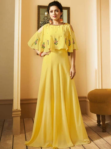 Beautiful  Yellow Color Georgette Kurtis