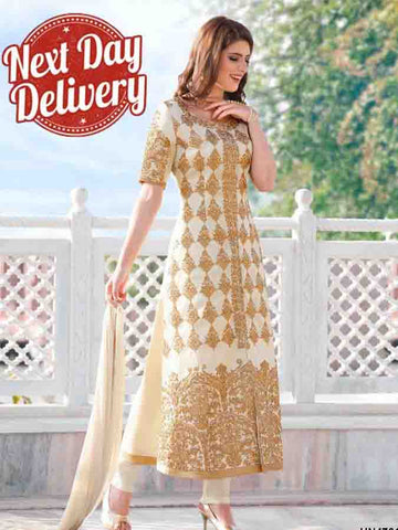 Designer Partywear Off White Color Embroidered straight cut suit