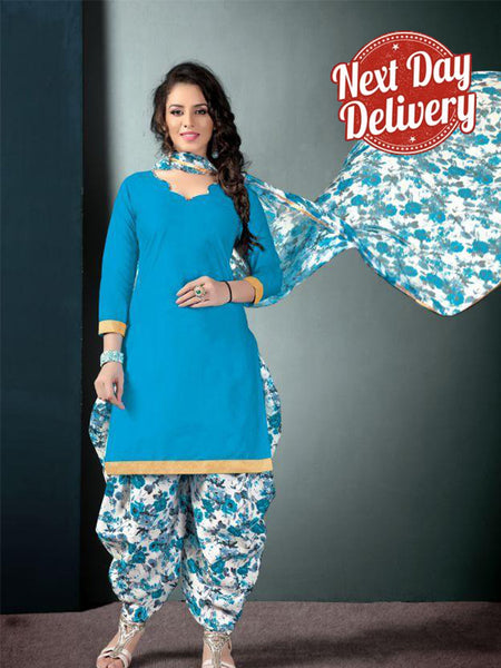 Punjabi Partywear Light Blue Color Printed Patiala Suit
