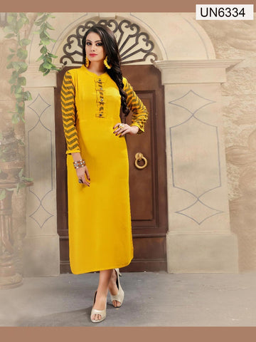 Beautiful Designer Printed Yellow Color Rayon Kurti