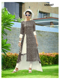 Beautiful Designer Printed Brown and Off White Color Rayon Kurti