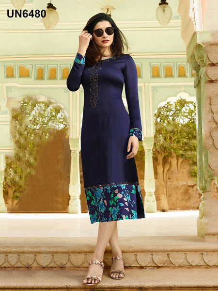 Beautiful Designer Print & Stone Work Navy Blue Color Satin Kurti