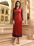 Beautiful Designer Print & Stone Work Red Color Satin Kurti