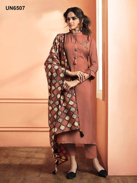 Beautiful Designer Patch Work Red Color Maslin Silk Straight Cut Suit