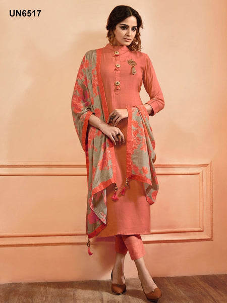 Beautiful Designer Patch Work Peach Color Maslin Silk Straight Cut Suit