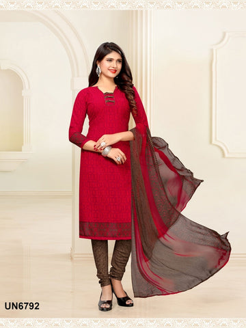 Beautiful Designer Red Color Digital Printed Straight Cut Suit