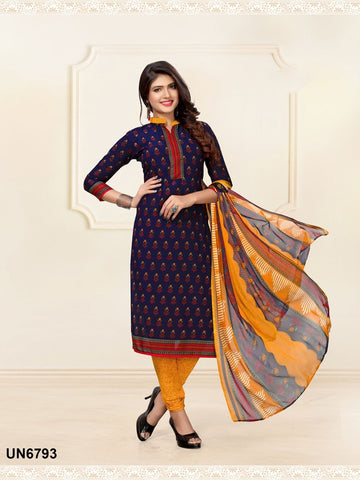 Beautiful Designer Navy Blue Color Digital Printed Straight Cut Suit