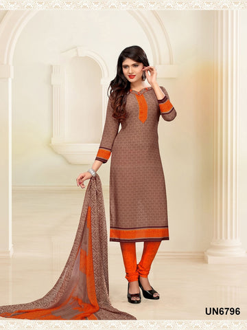 Beautiful Designer Brown Color Digital Printed Straight Cut Suit