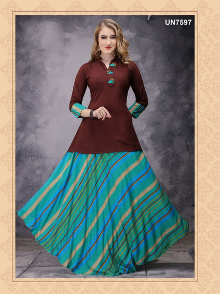 Beautiful Designer Multi Color Printed Rayon Anarkali Kurti