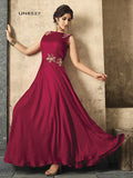 Designer Magenta Pink Color Satin Jari Embroidery With Sequence & Stone Work Gown