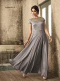 Designer Grey Color Coding with Stone Work Gown