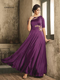 Designer Purple Color Jari and Resham Embroidered Work Gown