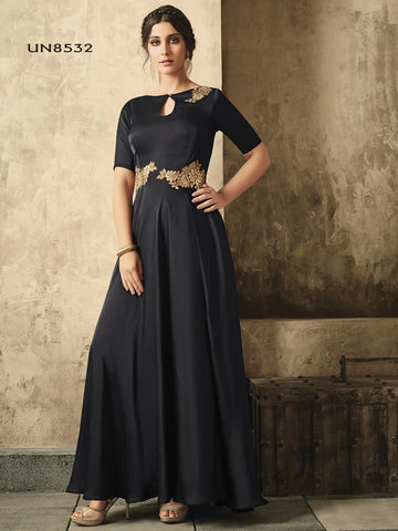 Designer Black  Color Jari Embroidery Work Gown