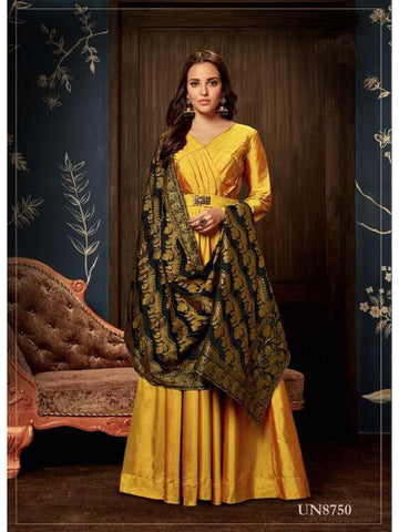 Designer Yellow Color Weaving & Fancy Hand Work Art Silk Gown