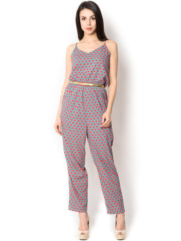 Sky and Pink Polyester Jumpsuit For women