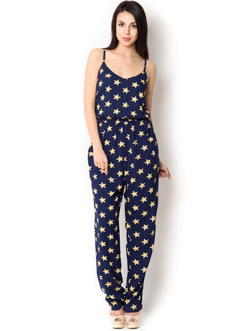 Navy With Gold Star print Jumpsuit For women