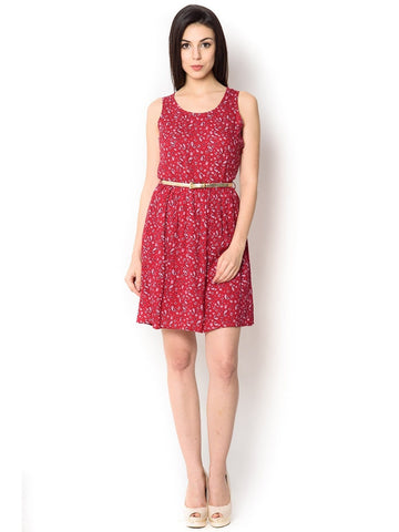 Printed Pink Viscose Knee-Length  Party Wear Dress For Women