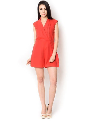 Red polyester knee length Jumpsuit For Women