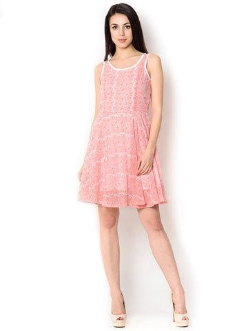 Pink Viscose Knee-Length  Party Wear Dress For Women
